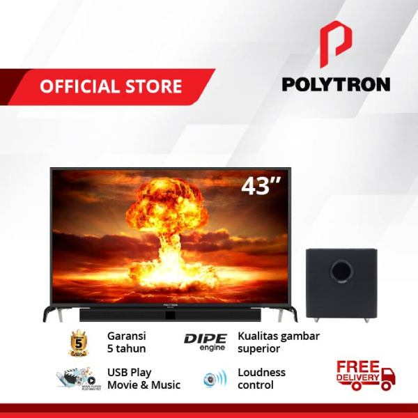 POLYTRON CINEMAX SOUNDBAR LED TV [43 Inch]  PLD 43B1550 /W