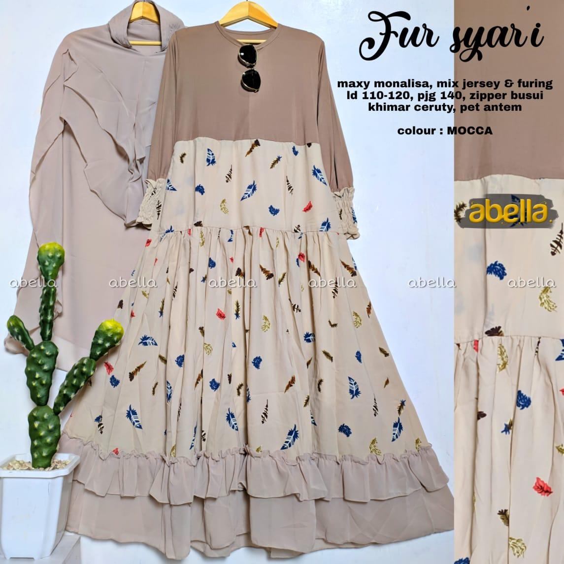 Fur Syari Monalisa Mix Jersey Busui Friendly Model Gamis Terbaru 8  Untuk RemajaModel Baju dress Panjang EleganDress Baju Muslim Wanita