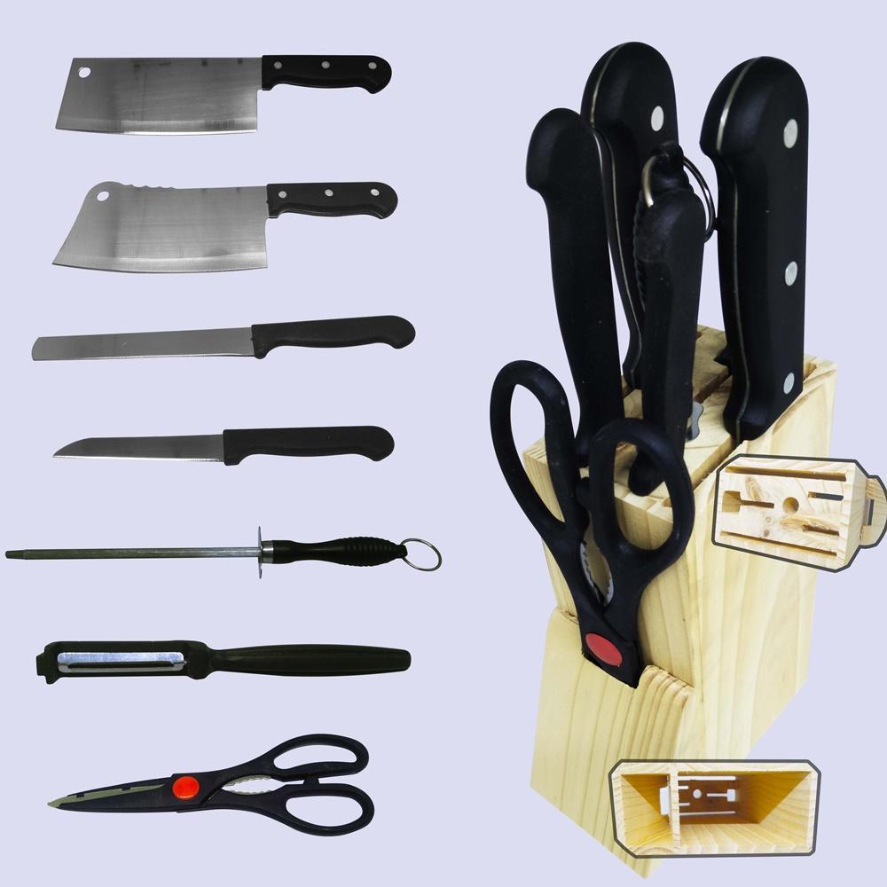 Indoglass Pisau dapur set / knife set stainless steel + asahan - 8 pcs Hitam /