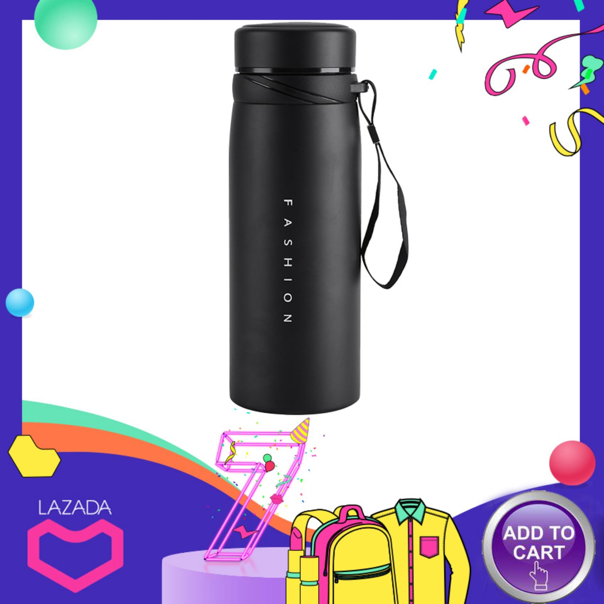 minxin[Free gift+Global express delivery]1Pc 900ml Stainless Steel Water Thermos Cup Tea Coffee Travel Drink Bottle (Black)