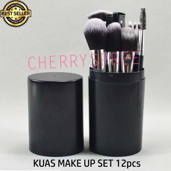 Montana Kuas Make Up 12pcs BLACK Tube Hitam Penyimpanan Untuk Kosmetik Blush On Eyeshadow Dandan Wajah
