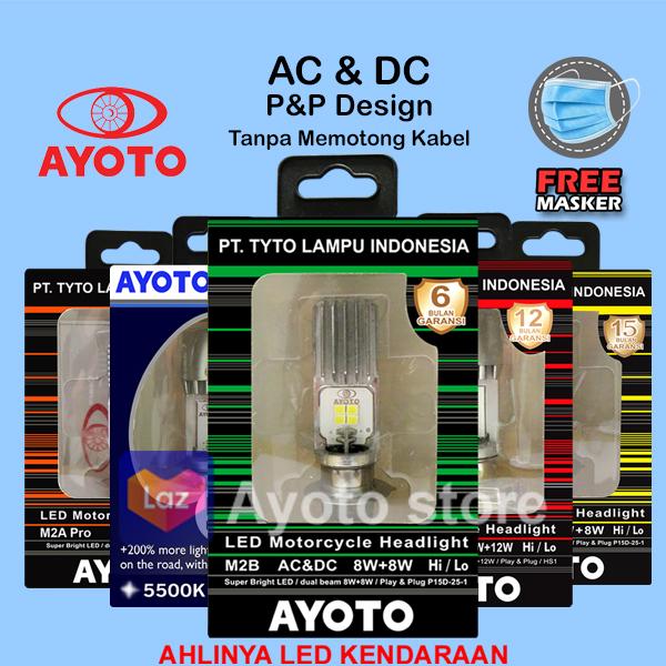 Lampu LED Motor AYOTO M2B Bebek Matic Lampu Utama watt 8+8 HI/LO Langsung Pasang H6 T19 AC/DC