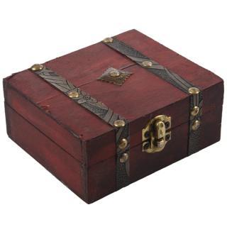 Wooden Vintage Lock Treasure Chest Jewelery Storage Box Case Organiser Ring Gift thumbnail