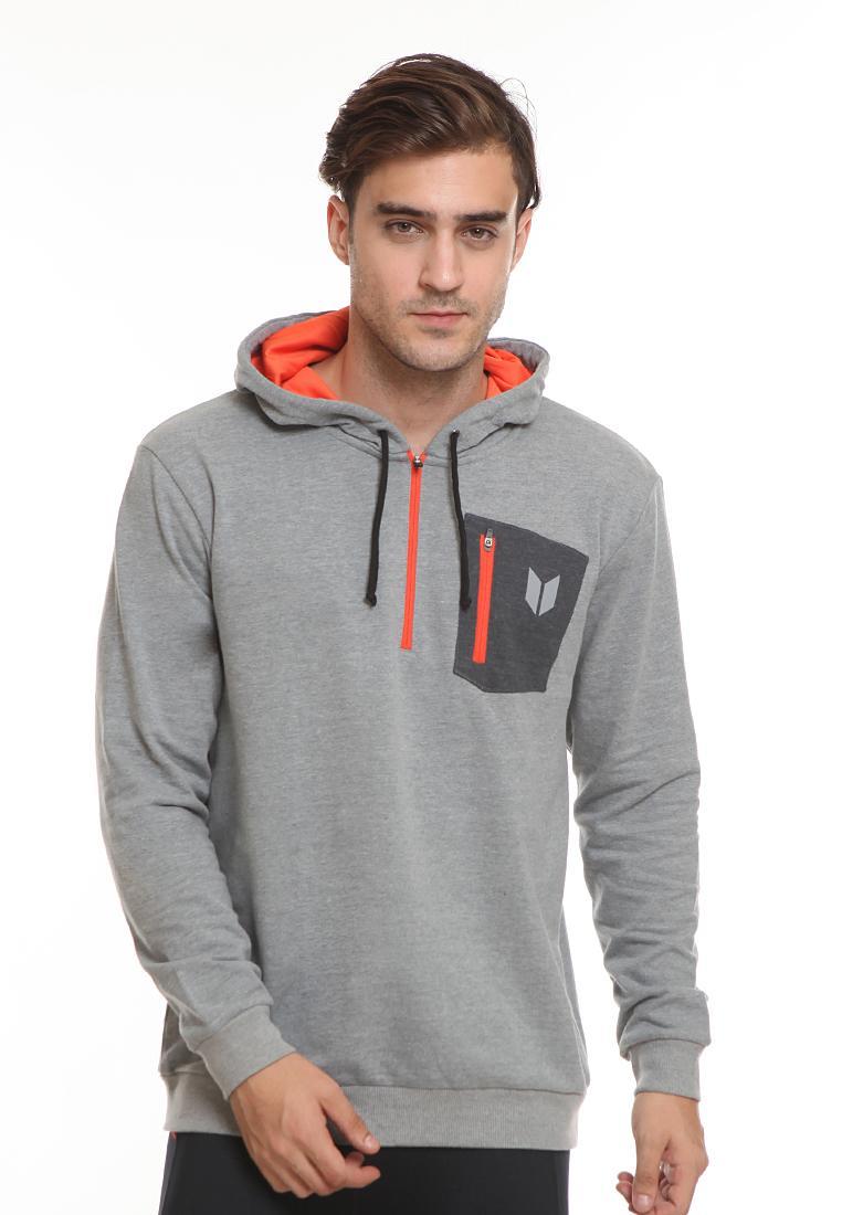 Enzoro - Pakaian Olahraga Pria Sweat Track Hoodie Jacket- Grey By Enzoro Sportswear (anoma).