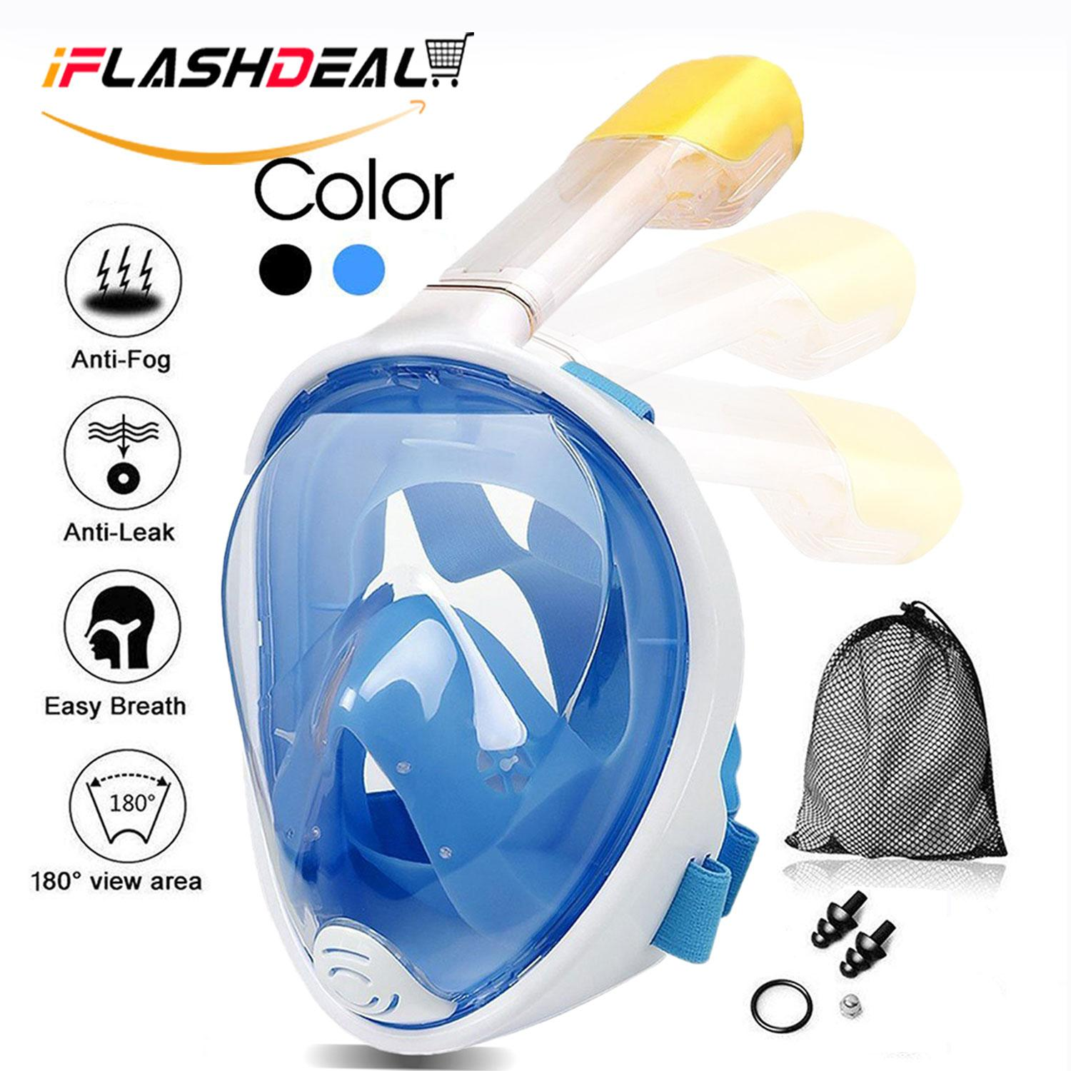 Iflashdeal Masker Diving Outdoor Olahraga Air Menyelam Snorkeling Snorkel Mask Full Face Snorkeling And Diving Mask L With 180° Panoramic Viewing By Iflashdeal.