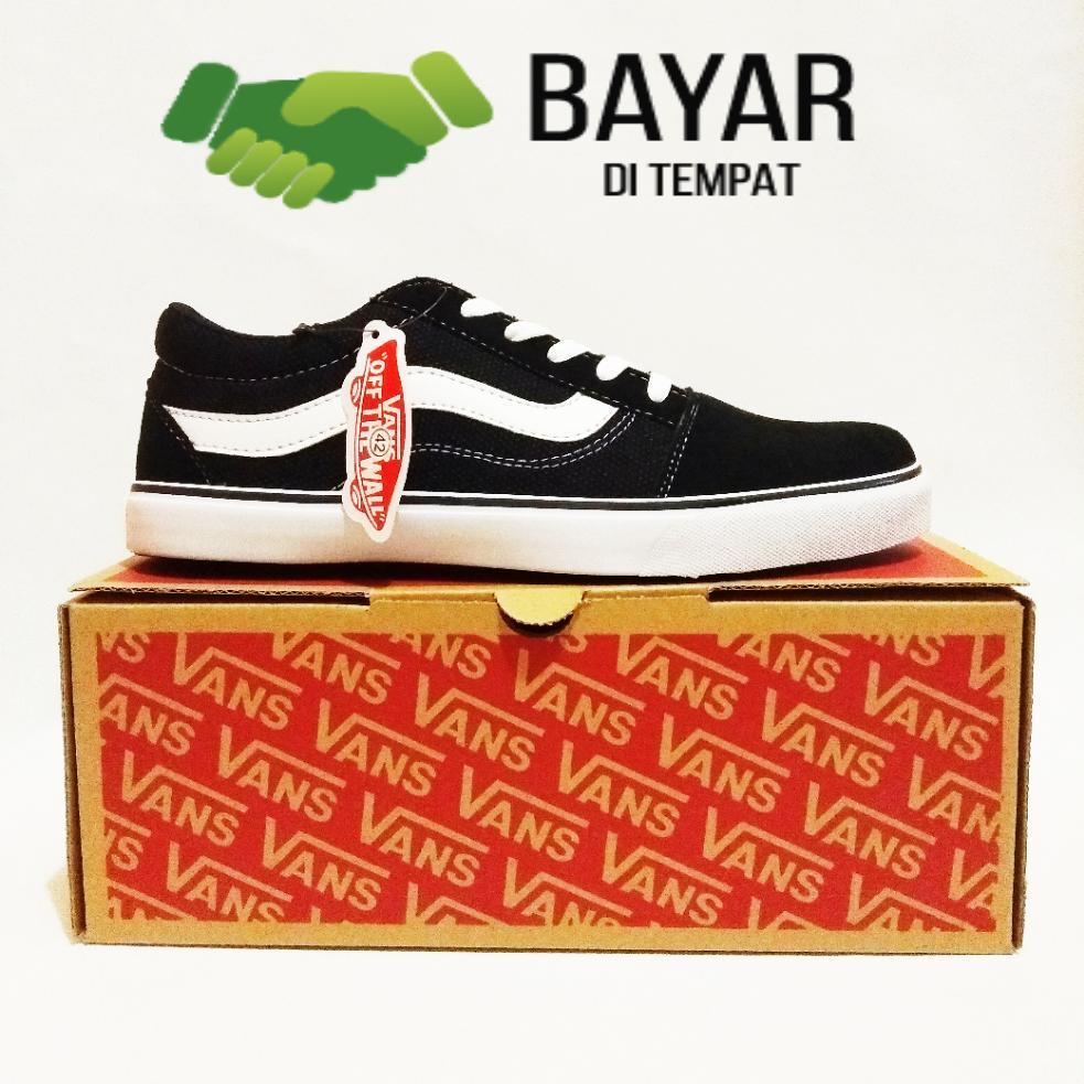 Sepatu vans121_old skool casual classic sneakers unisex black white