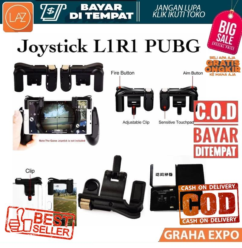 Bisa COD / Bayar di Tempat PUBG Joystick K01 R1 L1 Gamepad Fire Action Controller Fireaction Game Gaming Acc Accesories HP - Hitam Laz COD Graha Expo