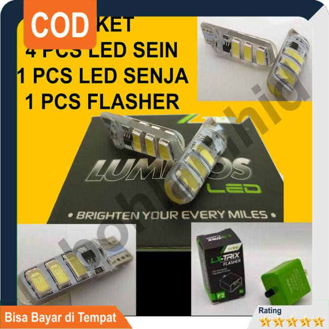 COD!! DISKON!!LED Sein 4pcs Senja 1pcs + Flasher Vario 125 eSP FI LUMINOS T10 5730 || Lampu Motor || Bhid3