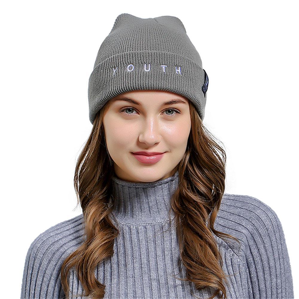Surat Bordir Pria Wanita Wol Longgar Ski Rajutan Topi Kerpus-Intl 7735e2f406