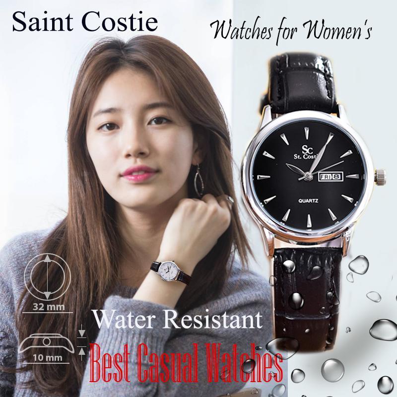 Saint Costie Original Brand, Jam Tangan Wanita - Body Silver - Black Dial – Black