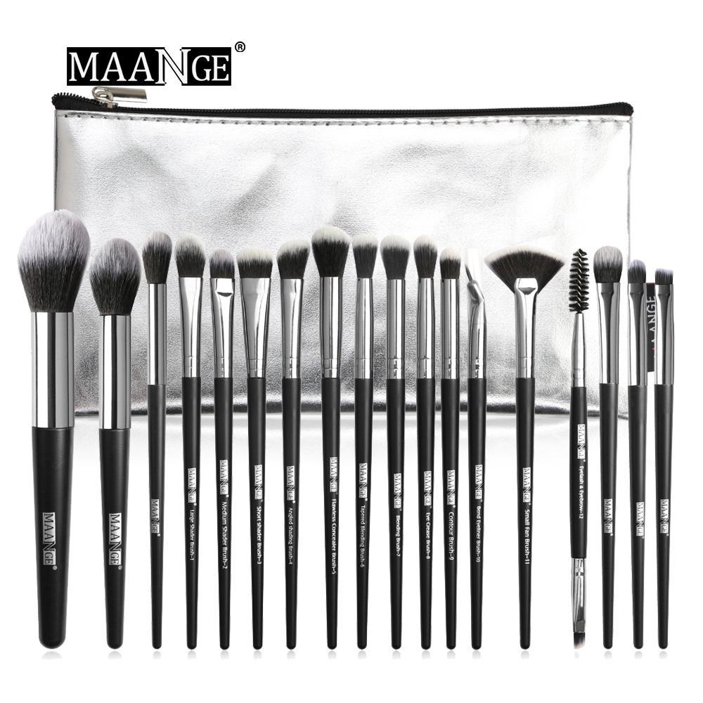 MAANGE 18 Cái Bàn chải trang điểm Bộ Bàn chải đa năng Set Phấn mắt Make Up Brush Với PU Leather Case Beauty Tool Kit nhập khẩu