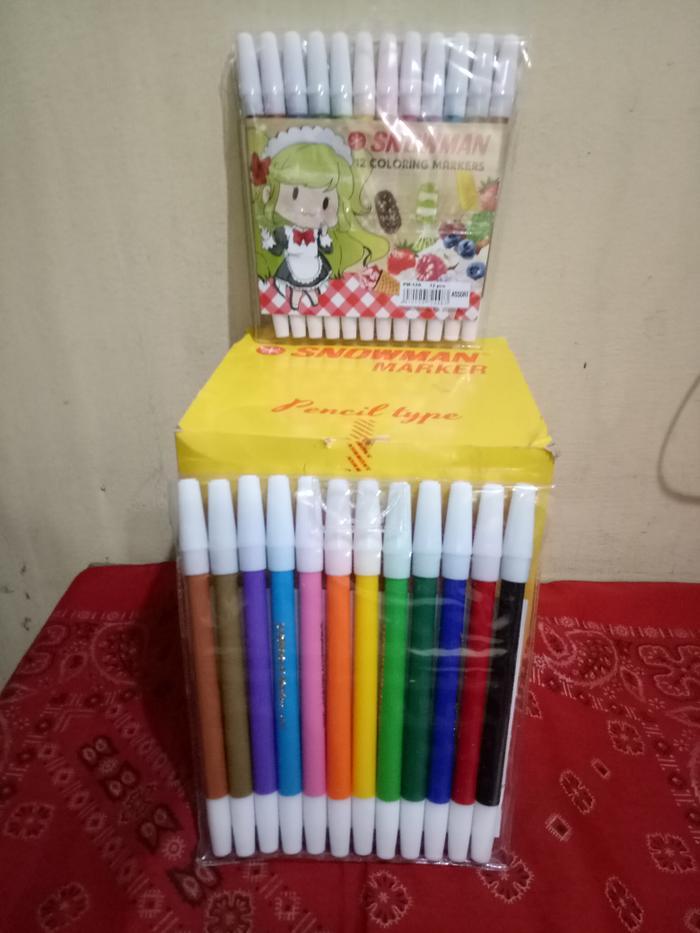 TERBARU Spidol Kecil Snowman Marker Isi 12 DISKON!!!
