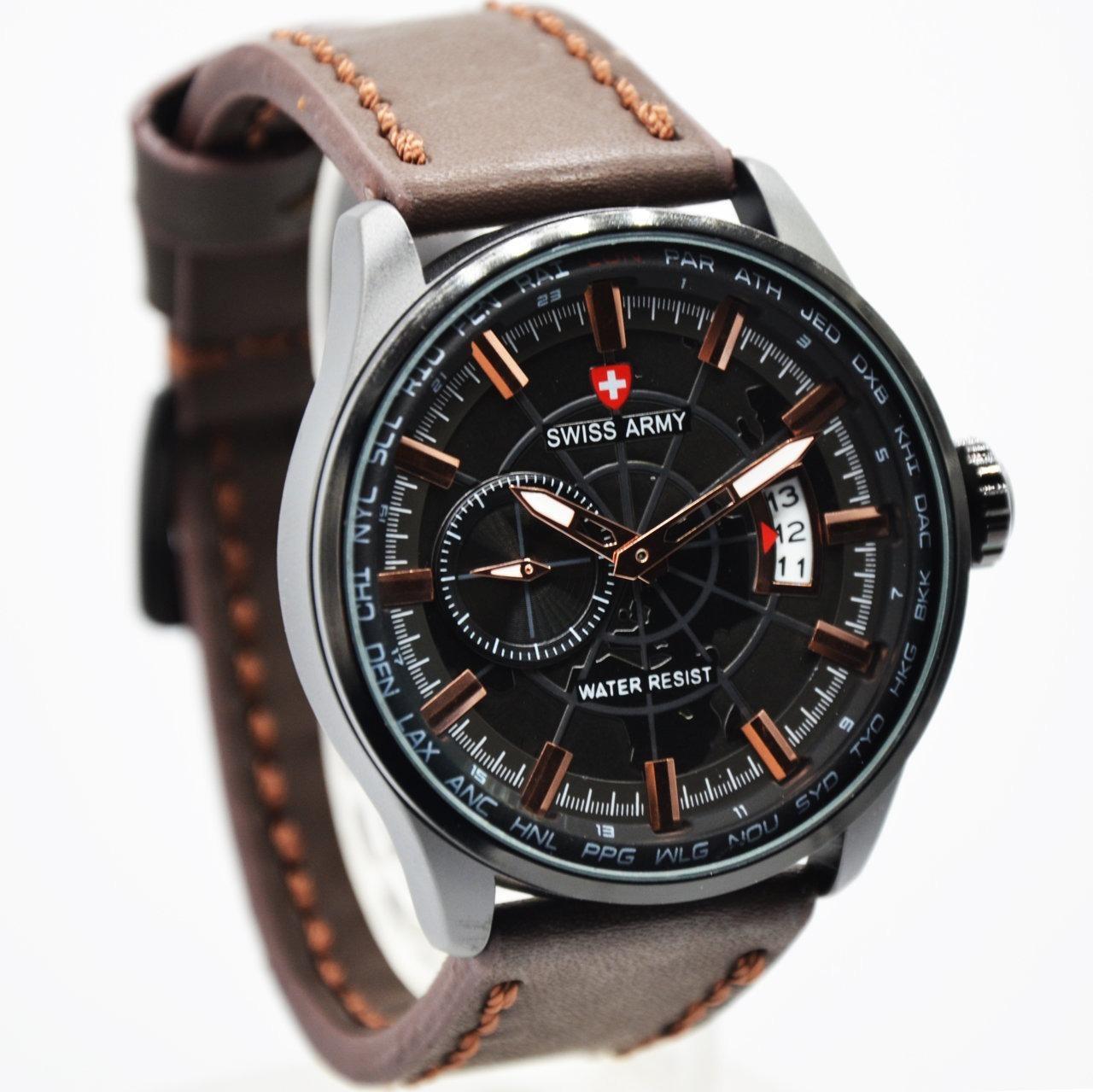 BISA BAYAR DI TEMPAT (COD) Jam Tangan SWISS ARMY ,Tali KuliT(Leather Strap)jam tangan model baru,jam tangan keren Limited edition (Tanggal Aktif)