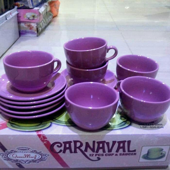Cangkir Tadah Keramik/tea Set/coffee Set/gelas Set Bulat Carnaval Set Isi 12 Pcs By Ki Houseware.