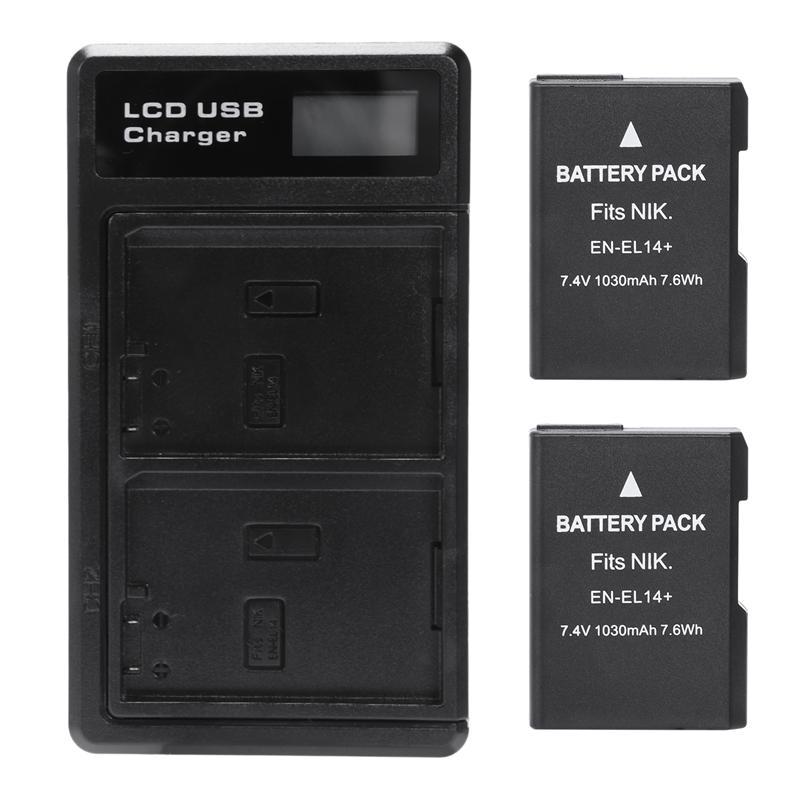 2 Pcs En-El14 Battery And Lcd Dual Battery Usb Charger For Nikon D5500, D5300, D5200, D5100, D3400, D3300, Df Dslr, Coolpix P7700