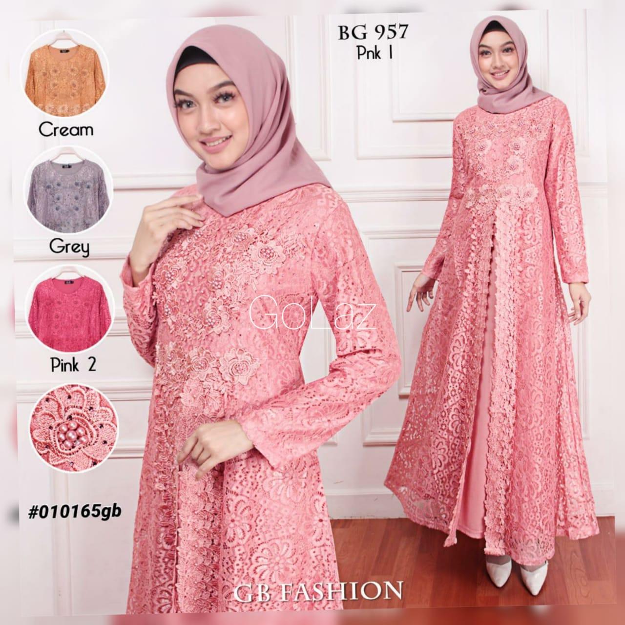 Golaz Gamis Brokat Bunga Bunga Full Brokat Baju Muslim Wanita 957 Lazada Indonesia