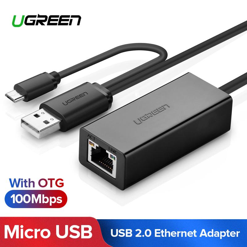 UGREEN USB 2.0 OTG ke RJ45 Adaptor Jaringan Ethernet 10/100 Mbps LAN Wired untuk