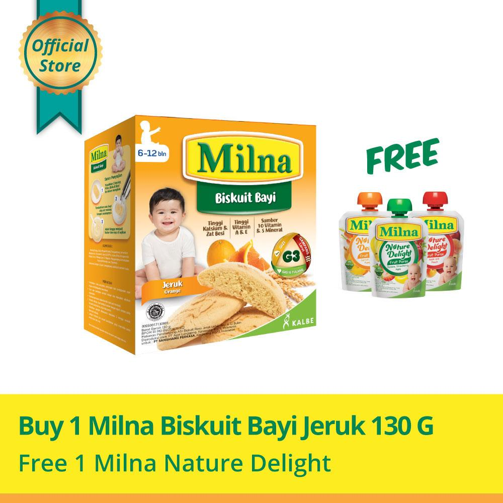Buy 1 Milna Biskuit Bayi Jeruk 130gr Free Milna Nature Delight By Kalbe Home Delivery.
