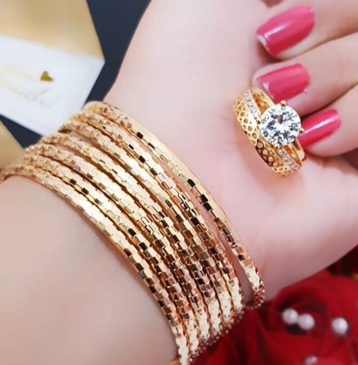 Gelang tangan keroncong set 7 free cincin cantik
