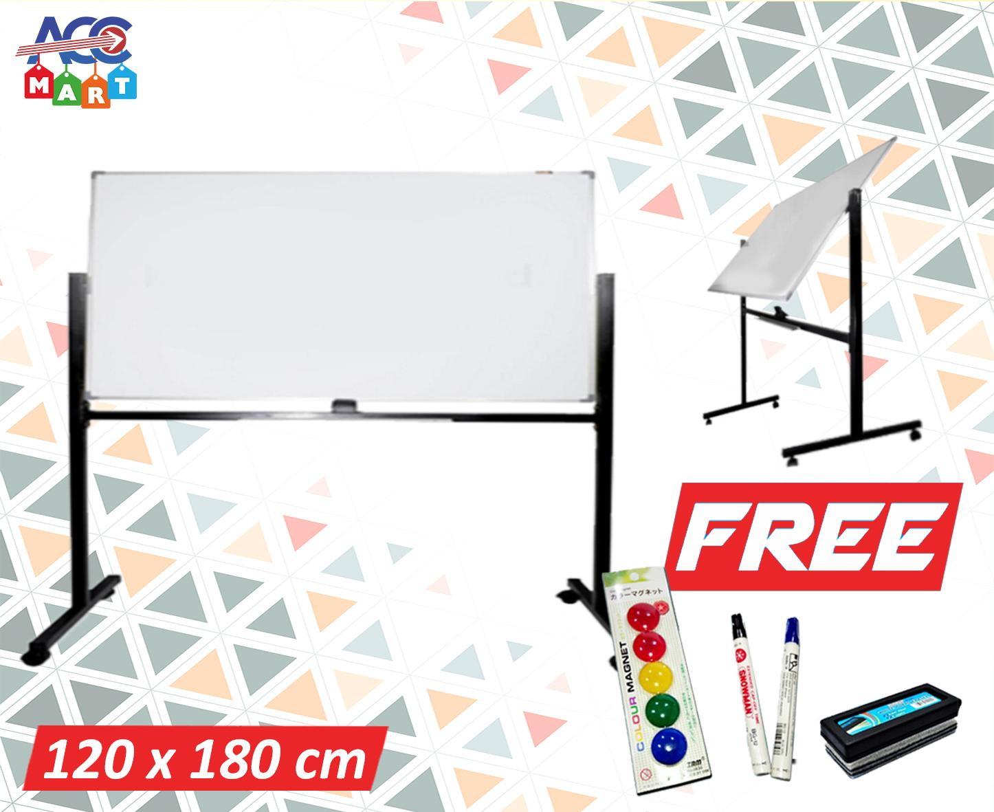 Whiteboard Keiko Double Face Stand 120x180cm Free Spidol - Penghapus & Pin Magnet By Accmart.