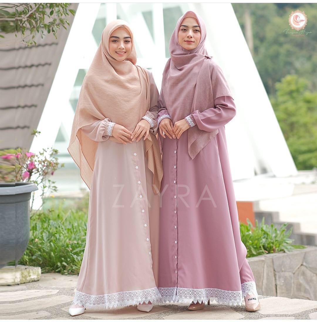 Baju Original KYRA MAXY DRESS Bahan MOSSCREPE MIX RENDA Dress Wanita Gamis  Terbaru 12 Modern Remaja Gamis Murah Bagus (MOCCA, PINK)