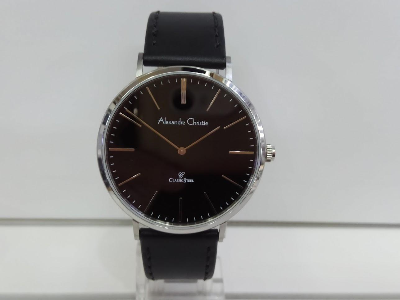 Alexandre Christie Jam Tangan Pria Alexandre Christie AC8490MH Classic  Silver Black Leather Strap b4d6e5c9e6