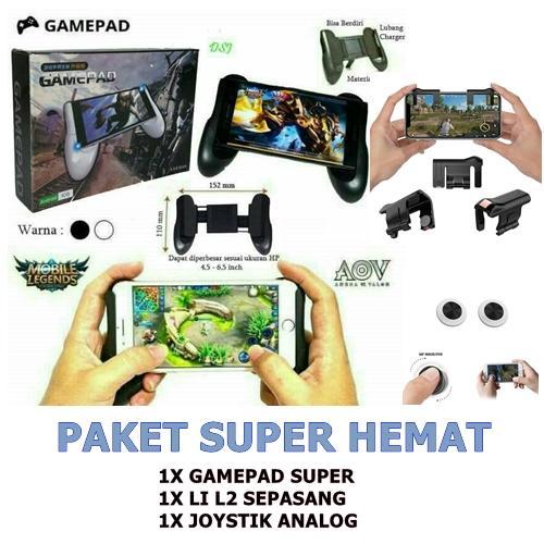 PAKET SUPER HEMAT+ Joystick Gamepad PUBG L1 R1 Joystick Gamepad Controller Fire Button Aim Key Untuk Semua HP Gen4 Gen Terbaru Gaming Controller Android ios - 2 Pcs Kiri+Kanan