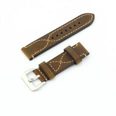 Harga Delicate S Stitching Leather Replacement Watch Band Strap Belt 22Mm Untuk Pria Atau Wanita Coklat Termurah