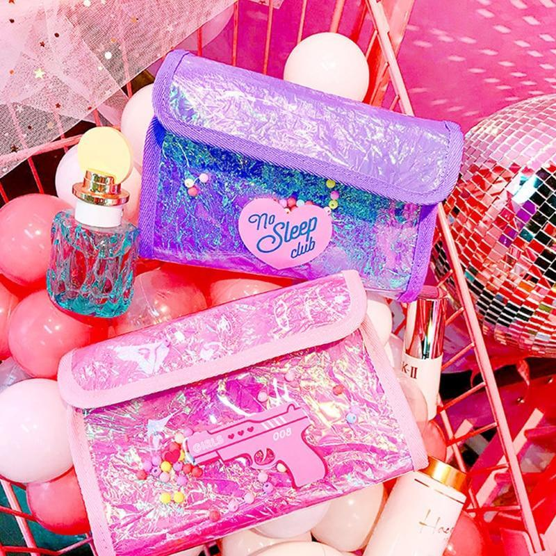 Women lovely cute pvc cosmetics bag for girls fashion travel make up brush case bag makeup toiletry storage organizer bag pouch