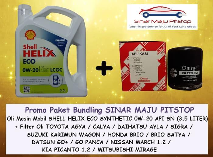 PROMO Paket Bundling SHELL HELIX ECO SYNTHETIC 0W-20 API SN SEGEL HOLOGRAM ORIGINAL & FILTER OLI MOBIL NISSAN MARCH 1.2 - 1200 CC
