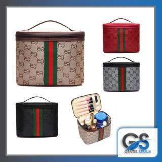 Gratis Semua - Tas Kosmetik Garis Hijau Merah Tas Multi Fungsi Bag Travel Make up thumbnail