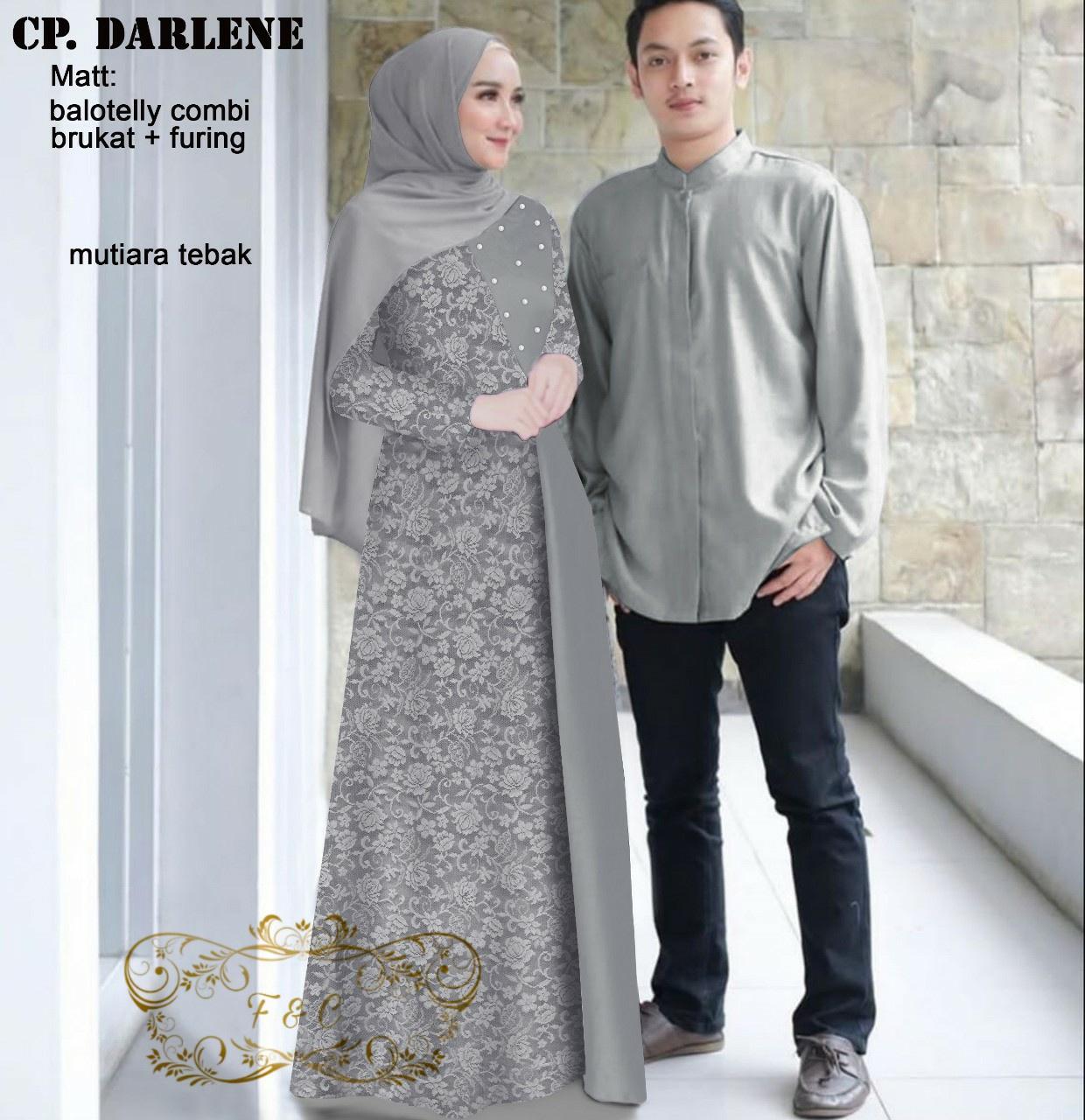 Baju muslim couple terbaru / Busana muslim murah / Couple Pasangan / Gamis  dan koko lengan panjang / Cp darlene