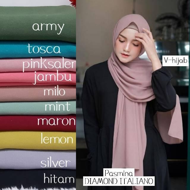 PROMO!!! Jilbab Pasmina Hijab Pasmina Polos Basic Panjang Jilbab Diamond Italians / Diamond Crepe