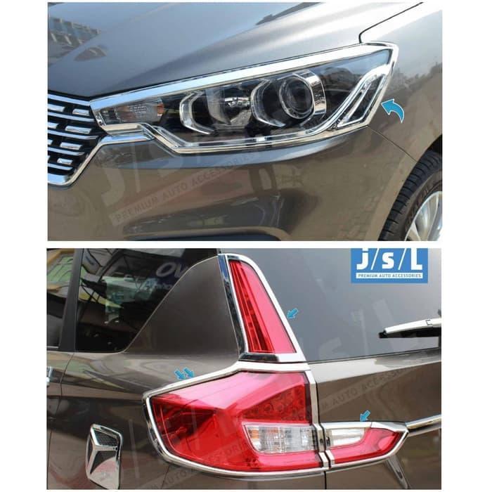 Paket Garnish List Lampu Depan Belakang Mobil ALL NEW ERTIGA Garnis Lis Chrome