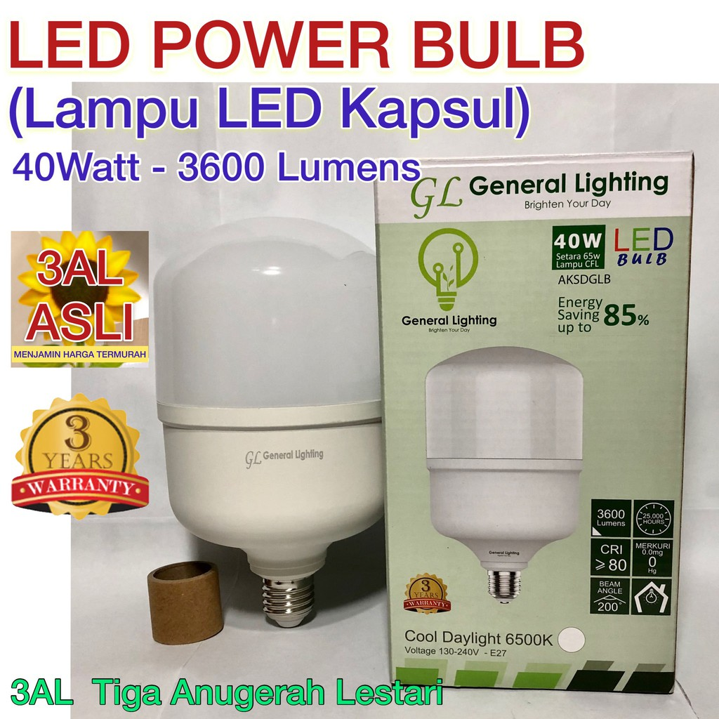 BAYAR DI TEMPAT - 40W, Lampu Bohlam Kapsul High Powerbulb LED GENERAL LIGHTING 40 Watt, Garansi 3 (Tiga) Tahun - iyfjBswP