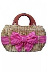 Harga Djogja Klasik Craft Hand Bag Enceng Gondok Oval Hendel Pita Merah Muda Origin