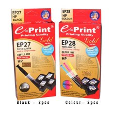 E Print Refill Kit Gold Black Colour Hp 2Sets Hitam E Print Diskon