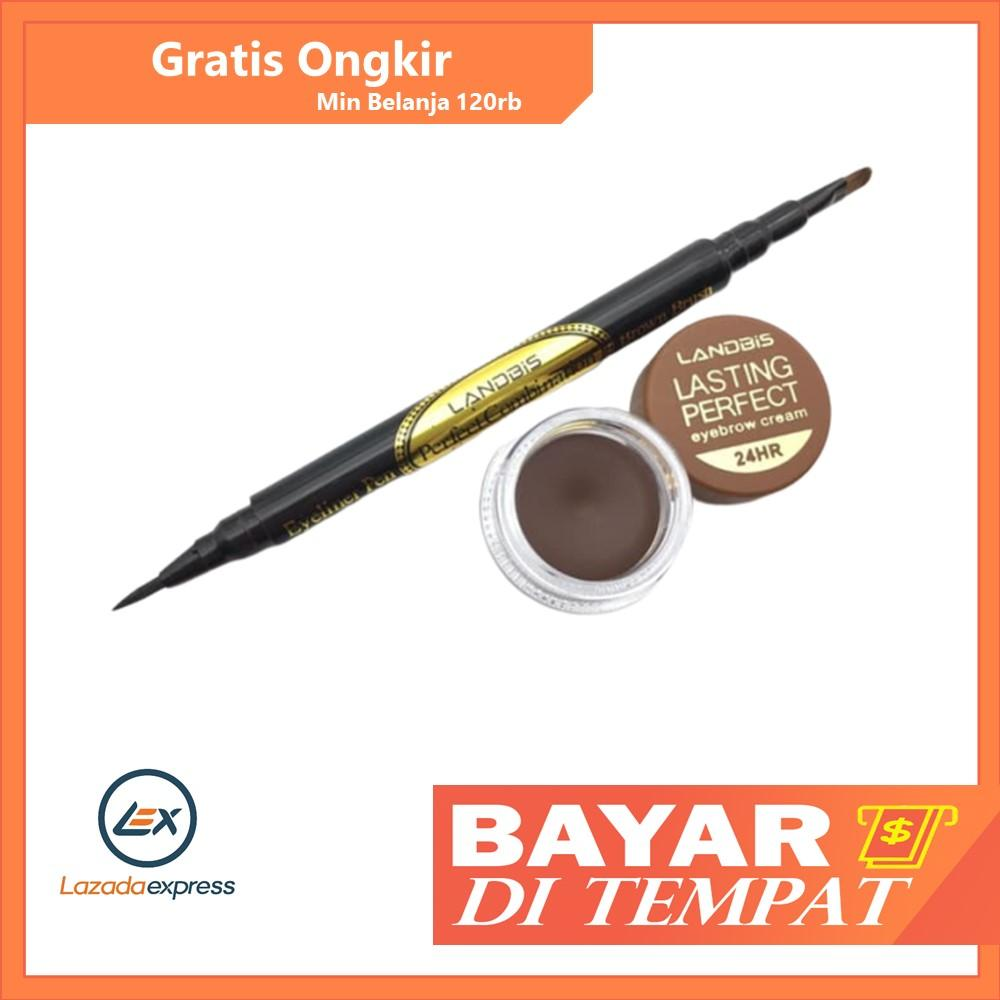 LANDBIS EYEBROW GEL 3 in1 with eyeliner + BRUSH / pensil untuk eyeliner dan eyebrow / pensil mata makeup / pensil alis termurah / pensil alis waterproof / pensil alis tahan lama