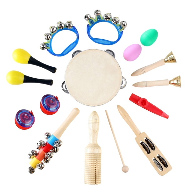 15 Pcs Kids Musical Instruments Set Wooden Percussion Instruments Toy Early Learning Music Toy with Bag
