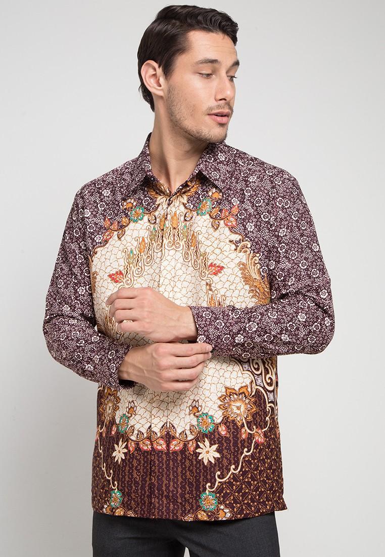 Kemeja Batik Pria Arjuna Weda Parang Rampai Cokelat