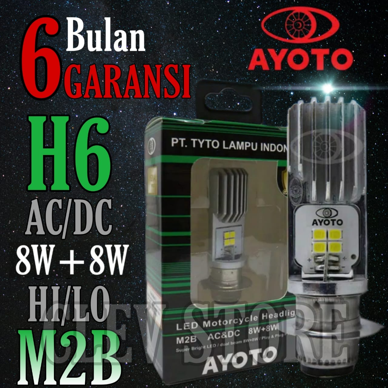 LAMPU LED motor AYOTO M2B H6 AC & DC motor matic / bebek