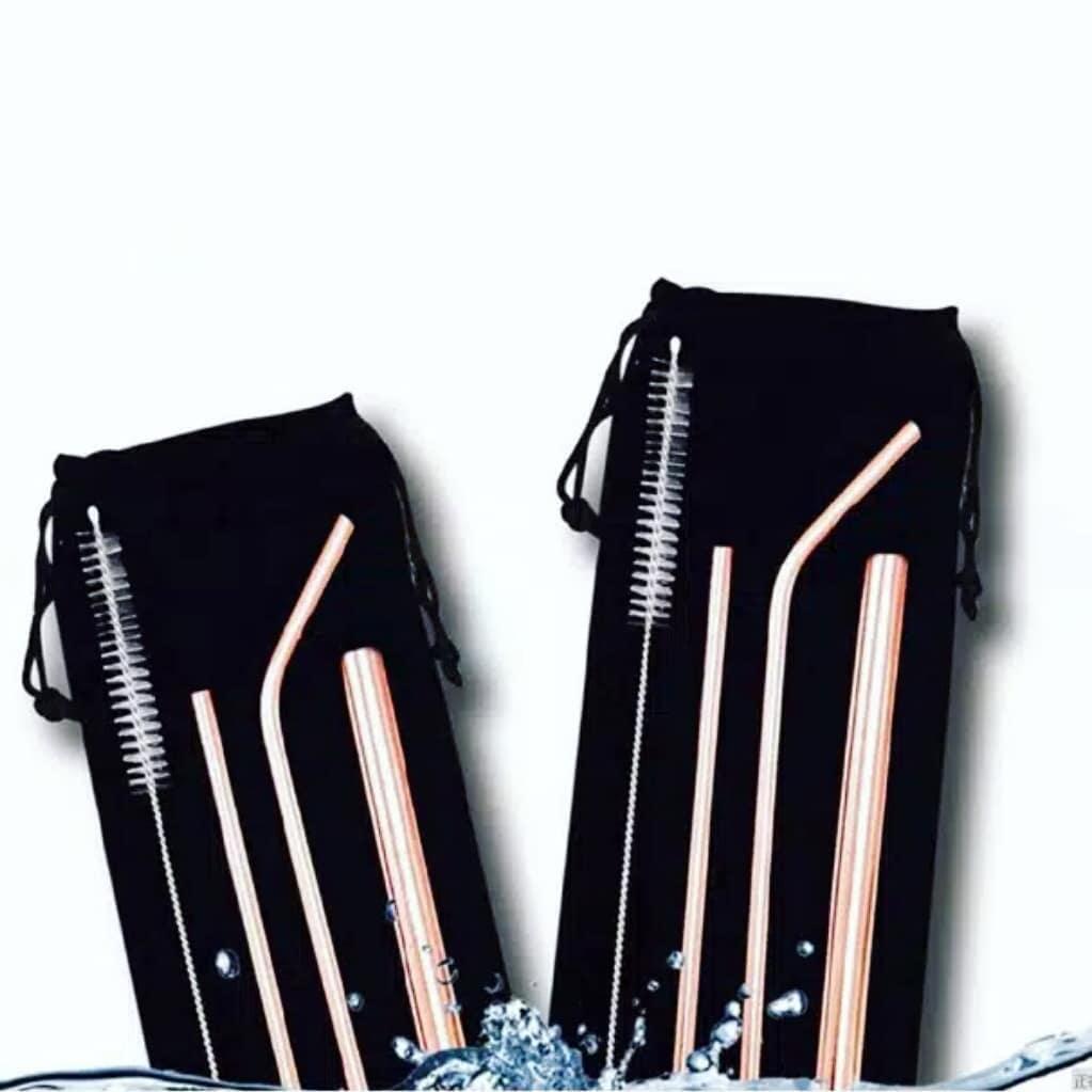 Minimall - 172 5 In 1 Ready Sedotan Minuman Dengan Bahan Stainless Steel Straw Dan Kuas Digunakan Kembali / Set Sedotan Tahan Lama / Sedotan Kekinian Kualitas Import By Minimall_.