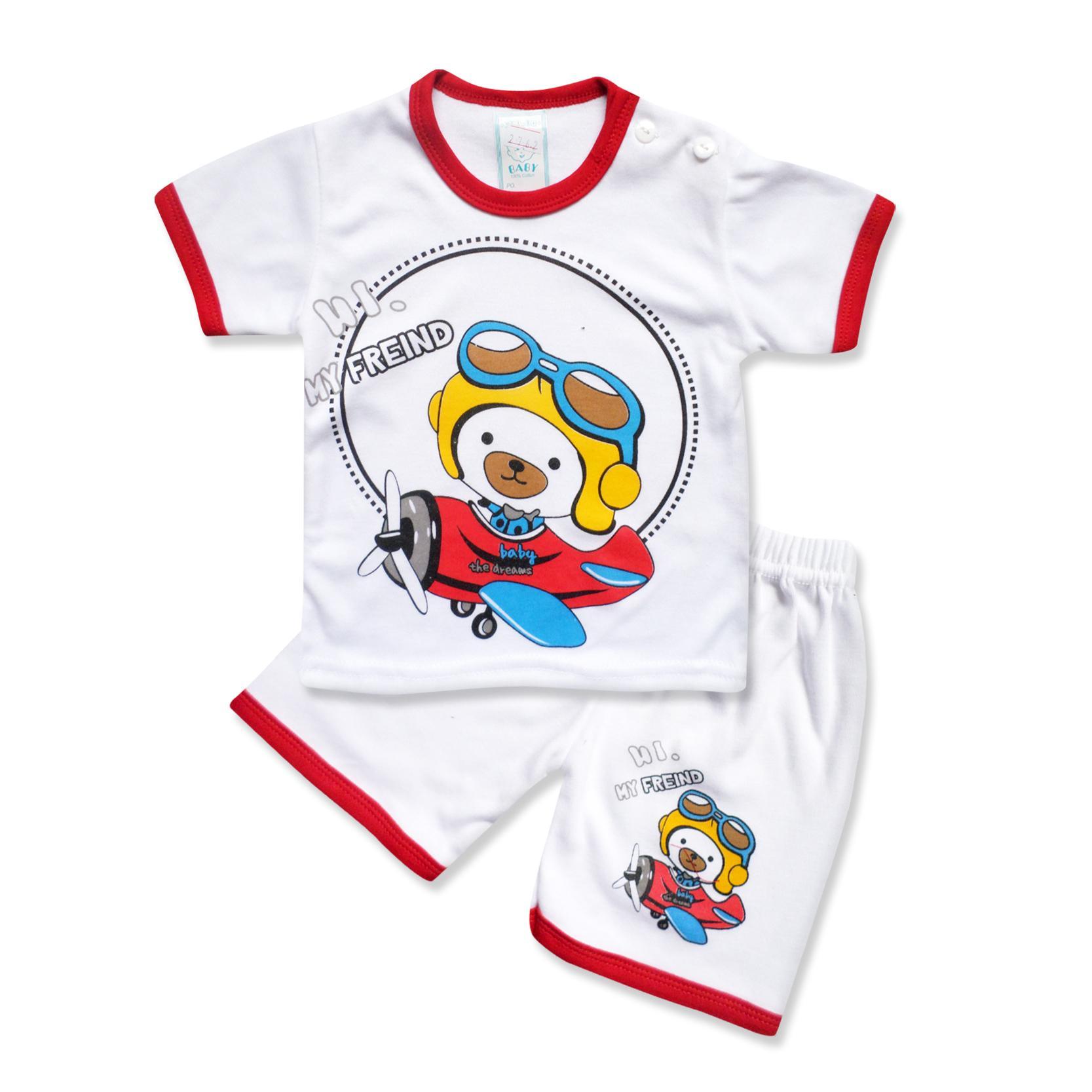 Skabe Baby Putih Baju Tangan Pendek Anak Bayi Laki Laki Setelan Kaos 2762 Everyday By Waka Kids.