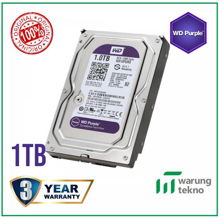Western Digital (Wd) Purple Harddisk Surveillance Cctv 1Tb Sata