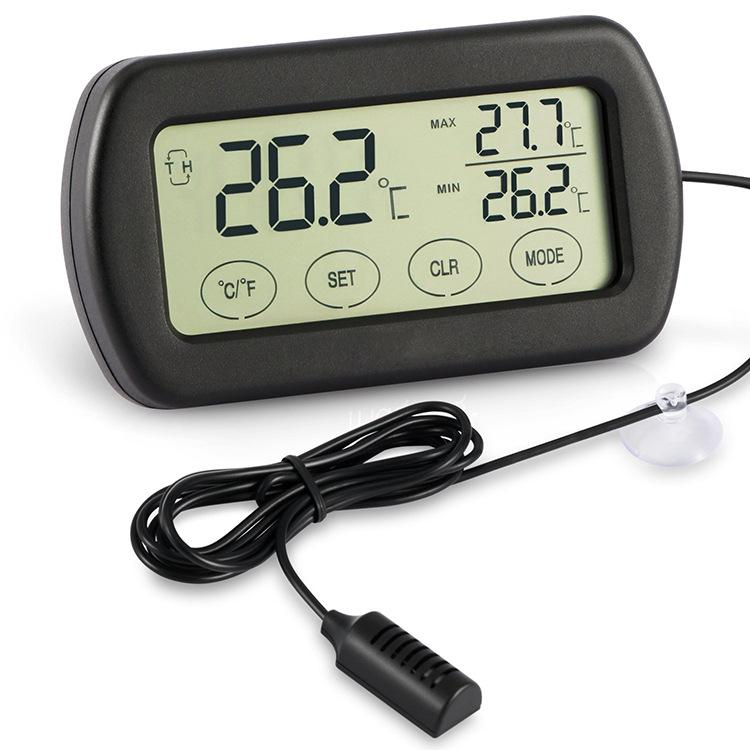 Digital Thermometer Humidity Suhu Ruangan Touch Screen With Probe - Dth-115 - Black By Rimas Tech.