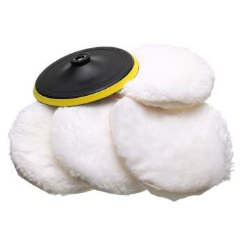 5Pcs Polisher/Buffer kit Soft Wool Bonnet Pad White:6 inch