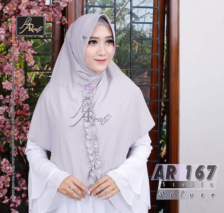 Hijab Arrafi AR 167 Silver Jilbab Instan Ar Rafi Bergo Kerudung Khimar
