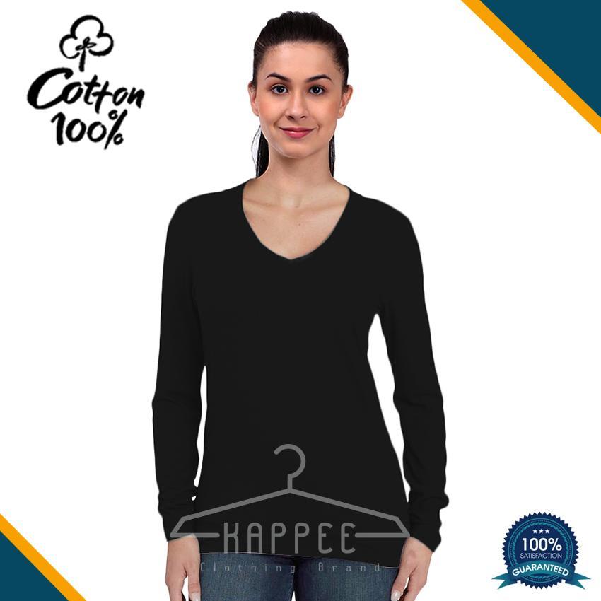 KAPPEE Kaos Polos Wanita Premium Hitam Lengan Panjang V-Neck Cotton combed 30s /  Kaos Hitam Reaktif / Kaos Polos Murah / Kaos Termurah / Baju Kaos Distro / Kaos T Shirt Cowok / Kaos Keren Terbaru / Kaos Atasan Wanita Dewasa / Casual Tumbler Tee