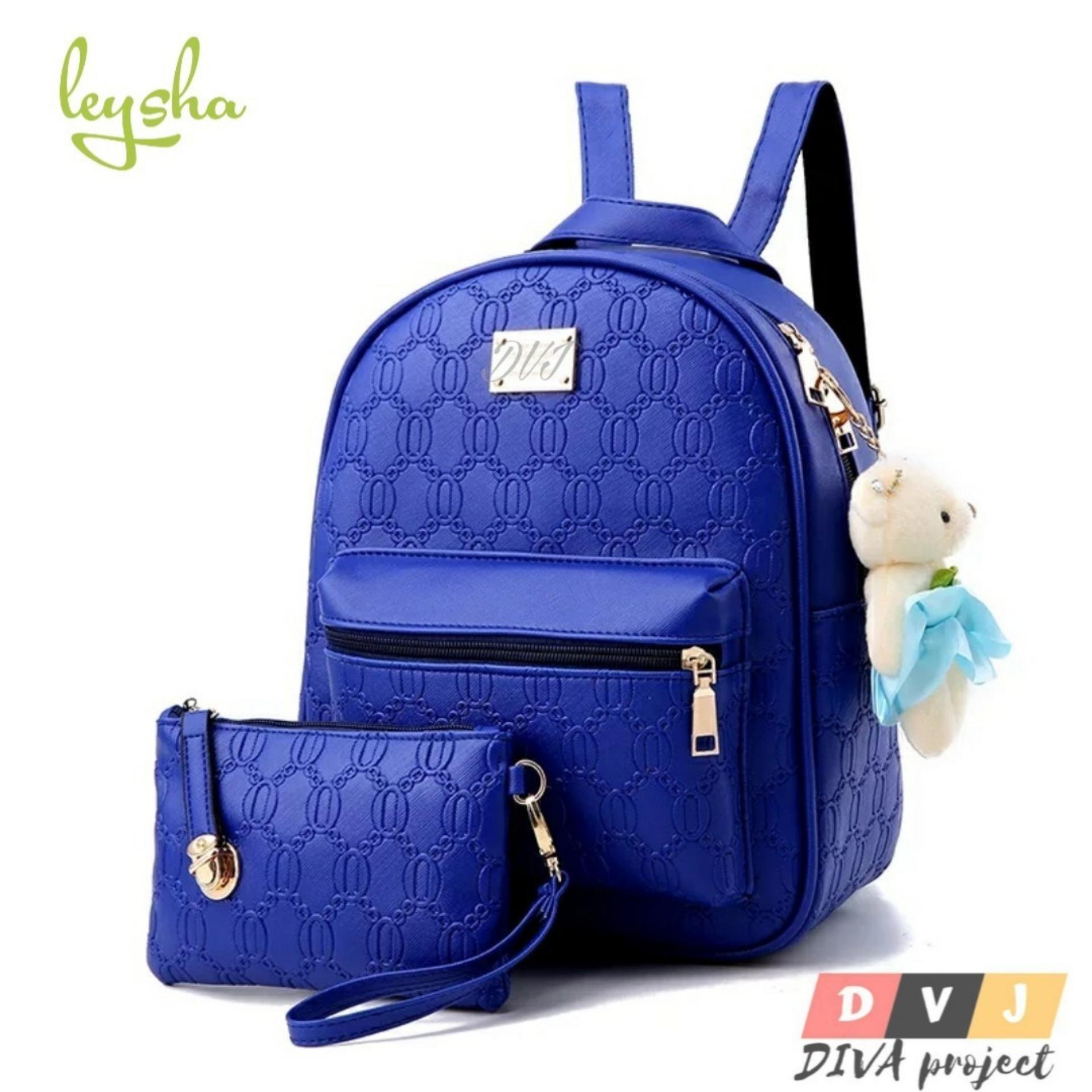 Tas Ransel SET 2 IN 1 Wanita Korea style Elegan LEYSHA/Backpack Fashion Wanita/
