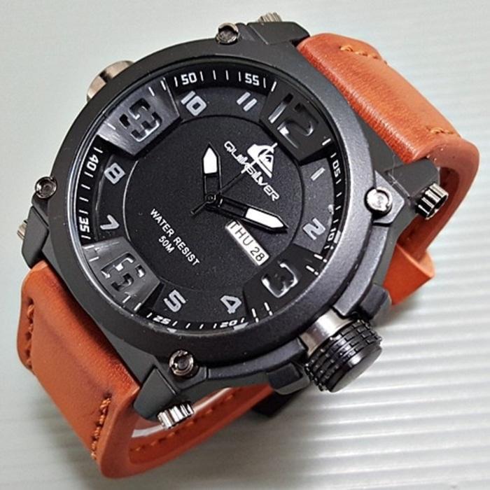Bisa Bayar di tempat (COD) Jam Tangan Quiksilver Outdoorwatch - Jam Tangan Sport / Kasual Pria - Genuine Leather Strap / Tali Kulit Tanggal dan Hari Aktif